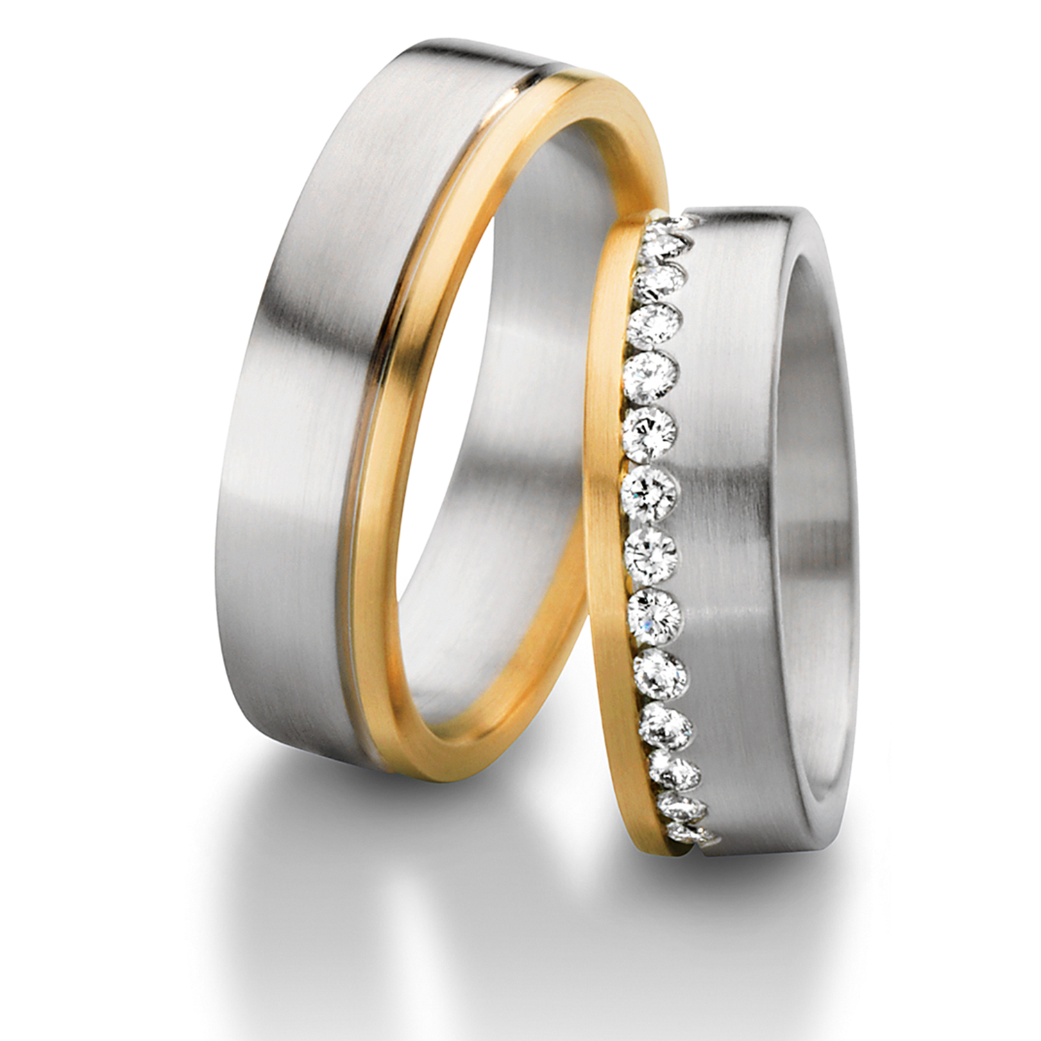 This is a photo of Wedding Multi-colored Wedding Rings white and yellow - Furrer Jacot