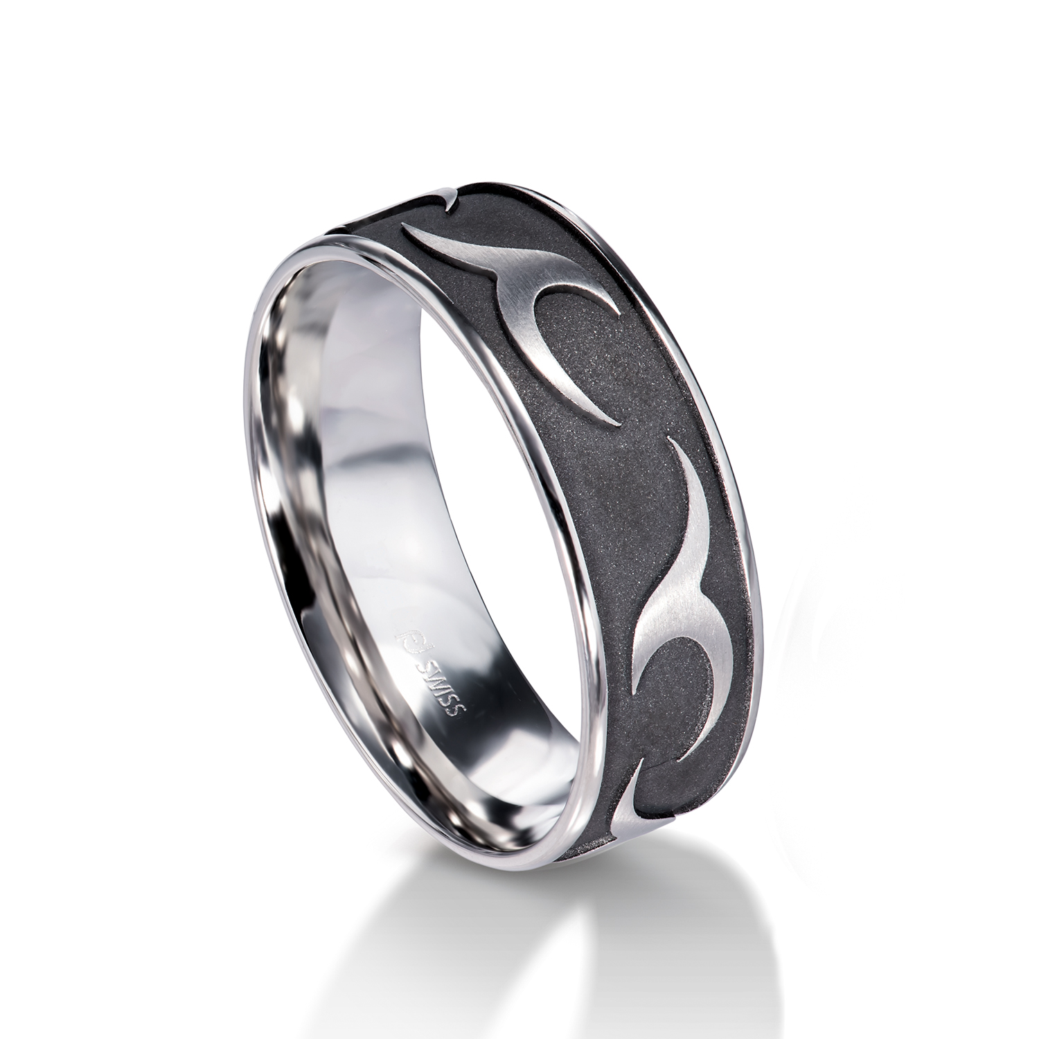 Man's world black wedding rings white gold