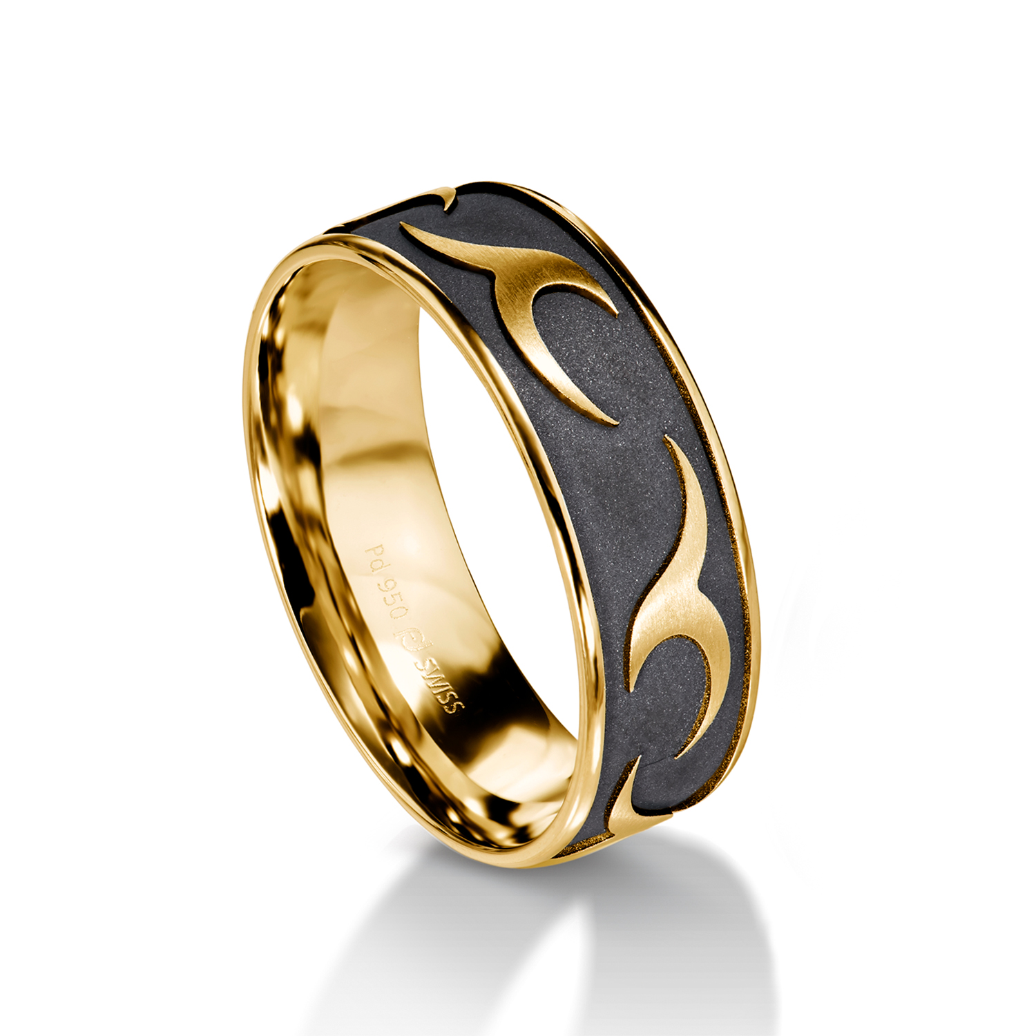 Man's world black wedding rings in yellow gold
