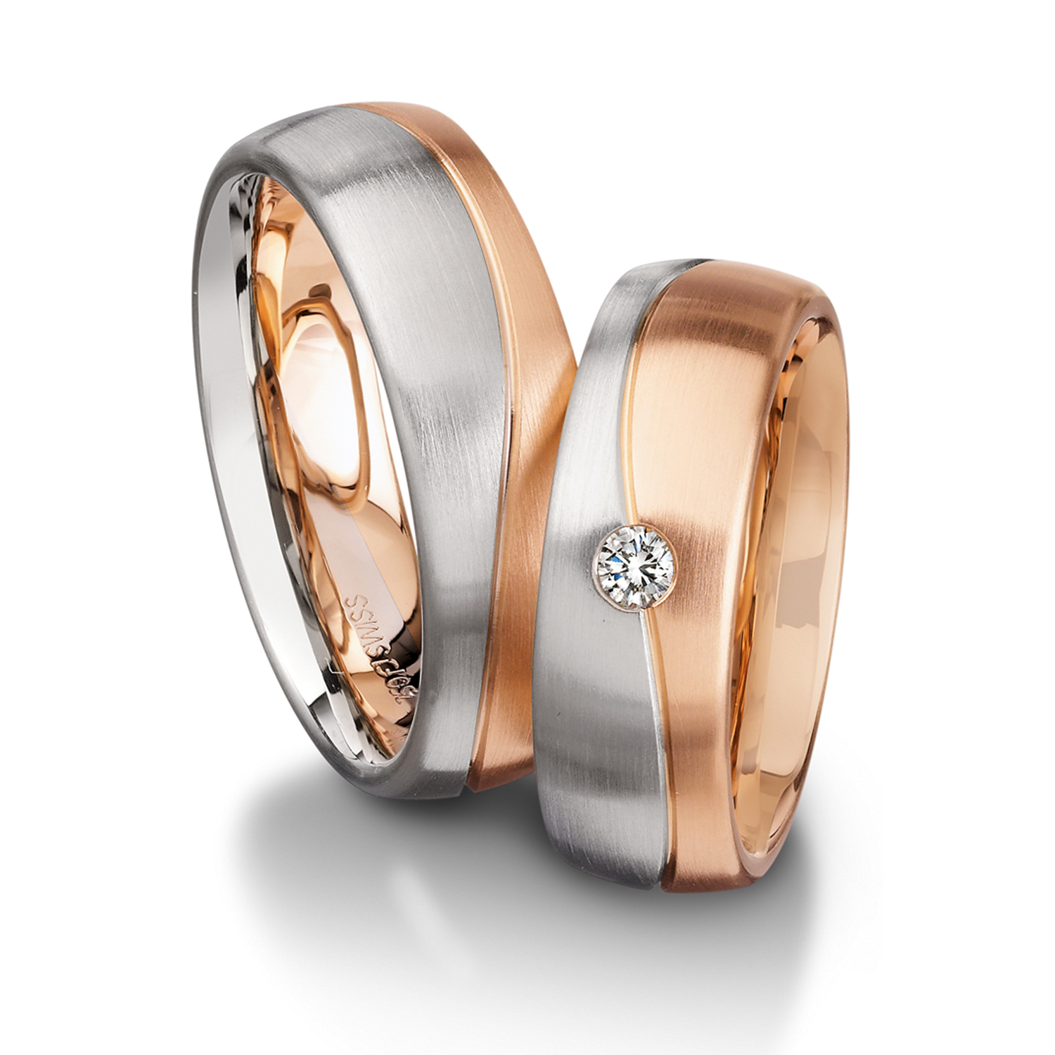 wedding bands in gold, platinum, palladium, multicolor with diamonds