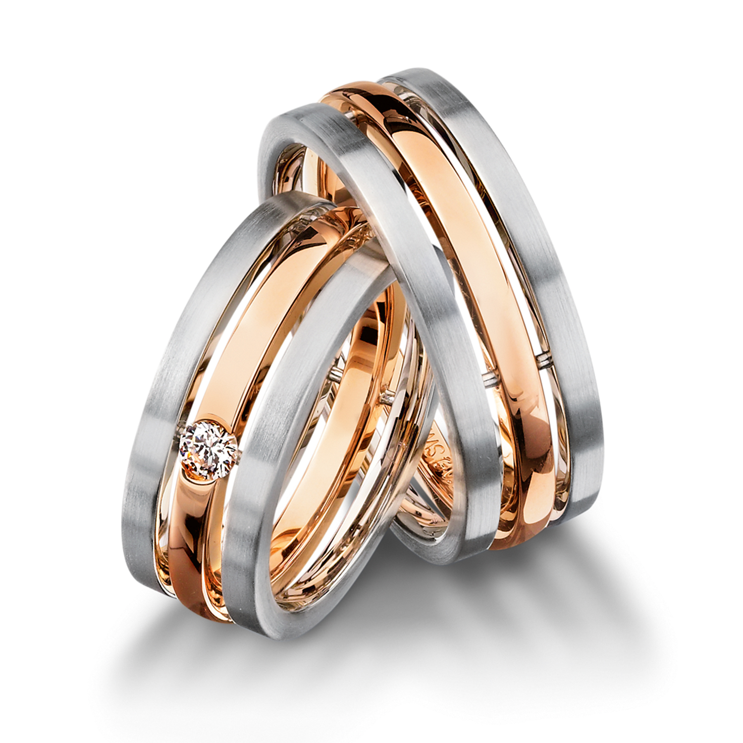 wedding bands, wedding rings, in gold, platinum, palladium, bicolor, with diamonds