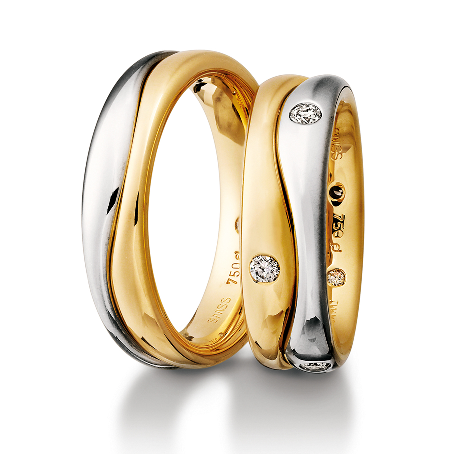 Rings in gold, platinum and palladium with diamonds Furrer Jacot