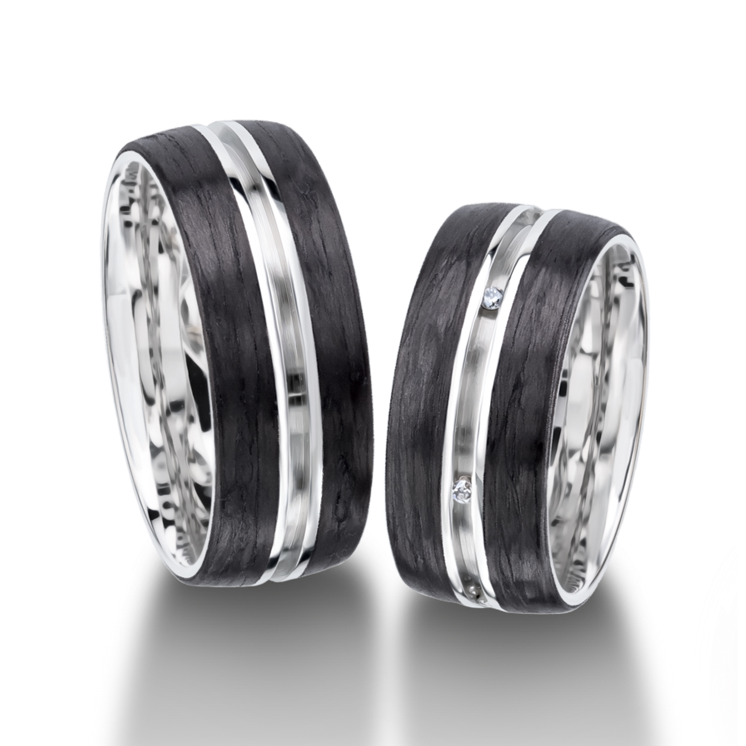 Carbon rings in gold, platinum and palladium with diamonds Furrer Jacot