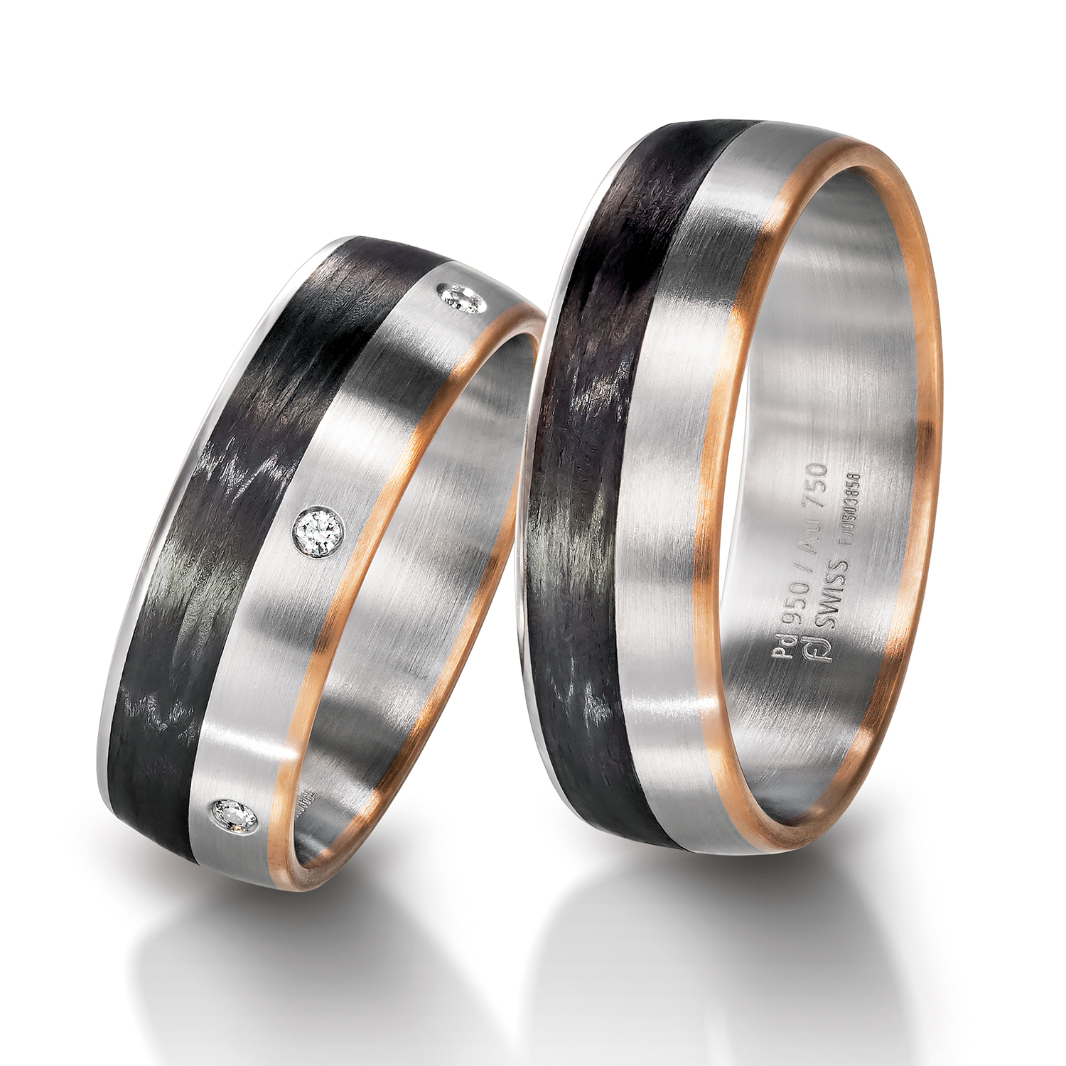 Rings in gold, platinum, palladium, carbon and black with diamonds Furrer Jacot