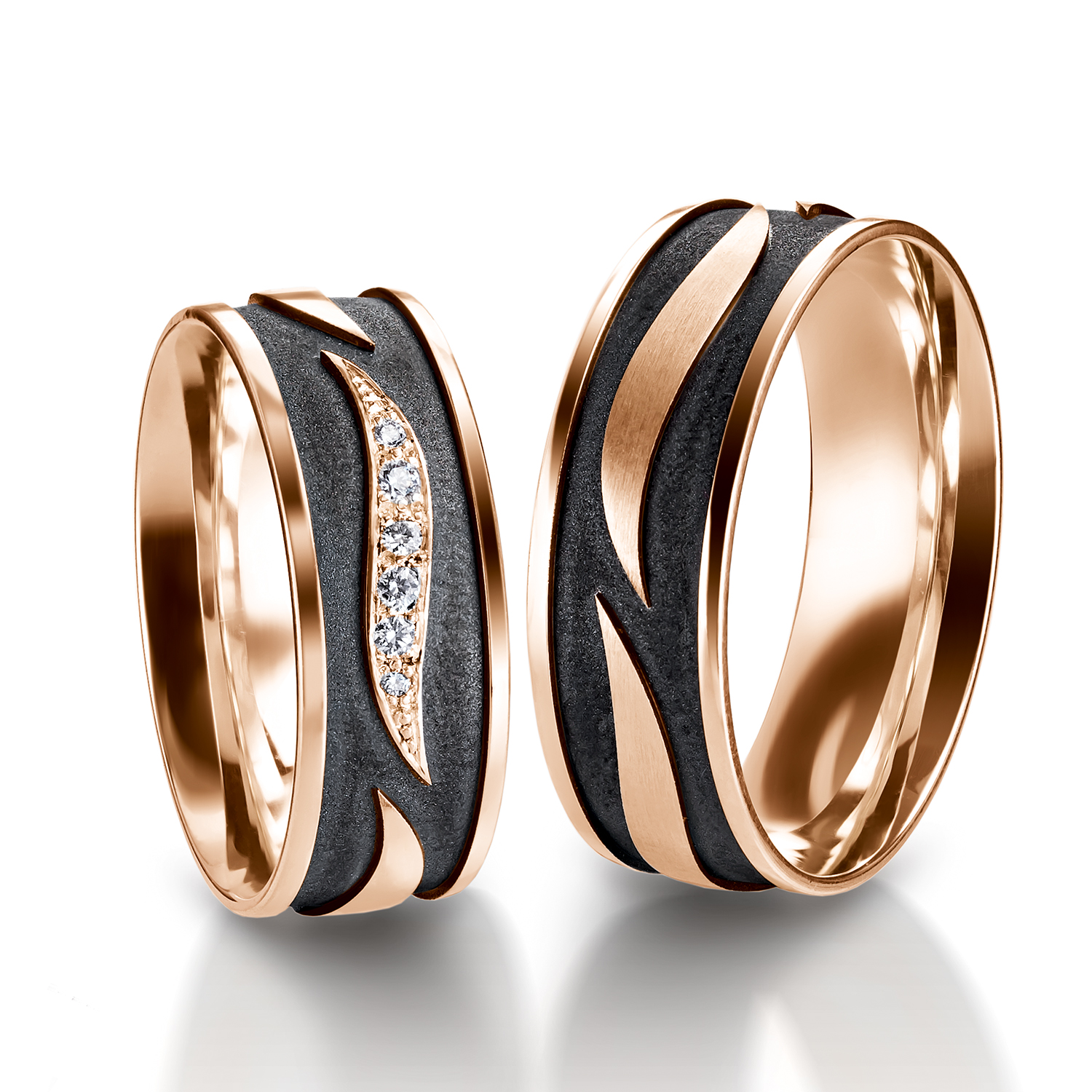Rings in gold, platinum, palladium and black with diamonds Furrer Jacot