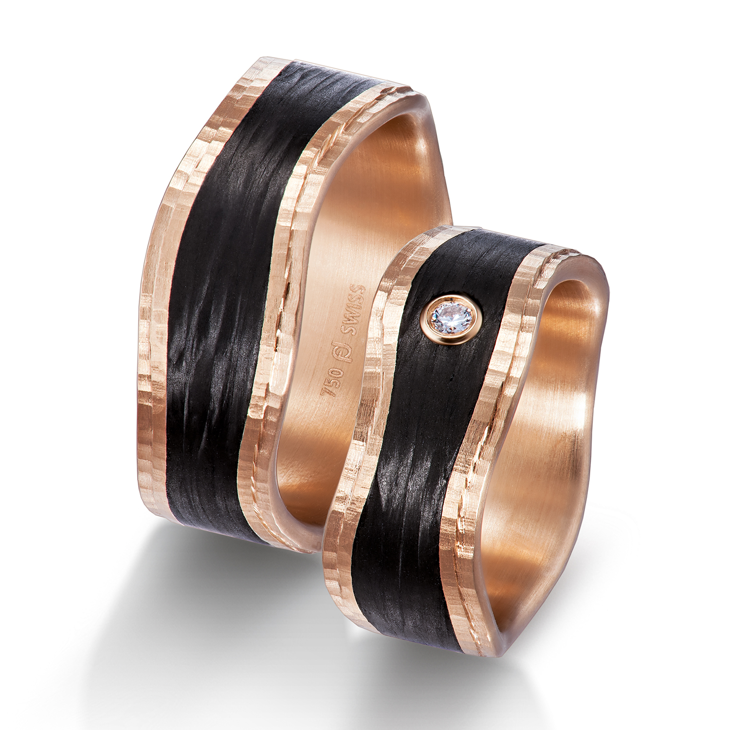 wedding bands, wedding rings, in gold, platinum, palladium, bicolor, with diamonds, carbon, black