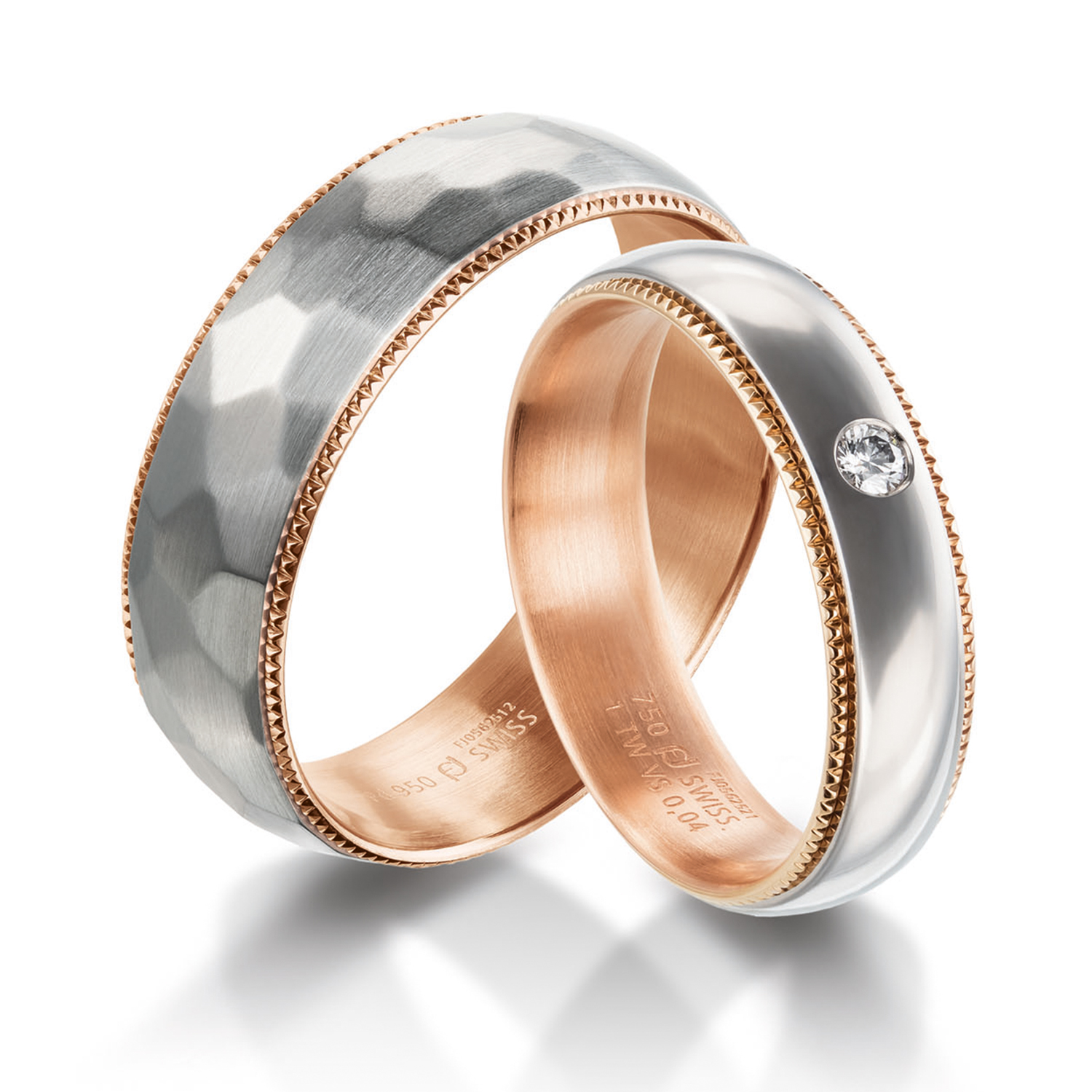 milgrain rings in gold, platinum, palladium, carbon and black with diamonds Furrer Jacot
