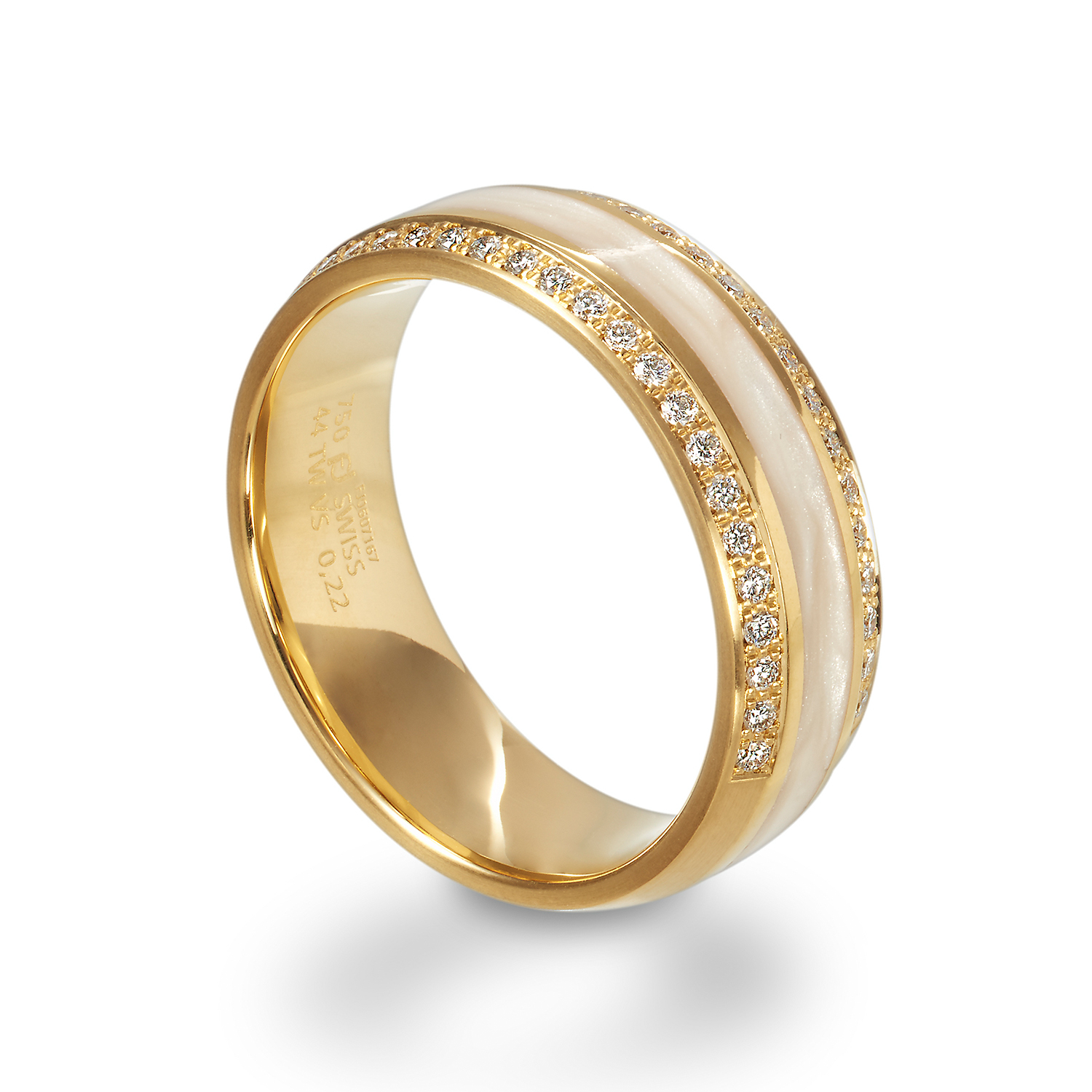 White rings in gold, platinum and palladium Furrer Jacot with diamonds